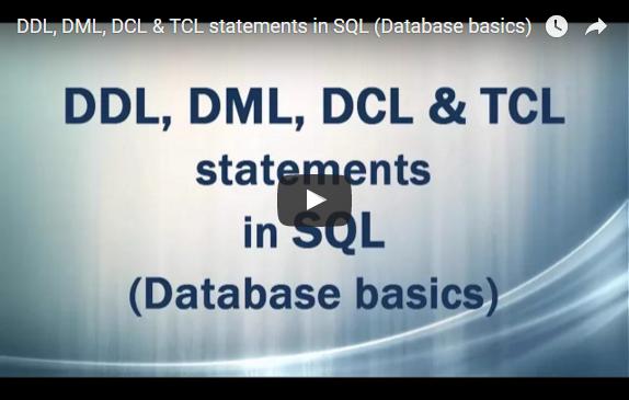 DDL DML DCL TCL