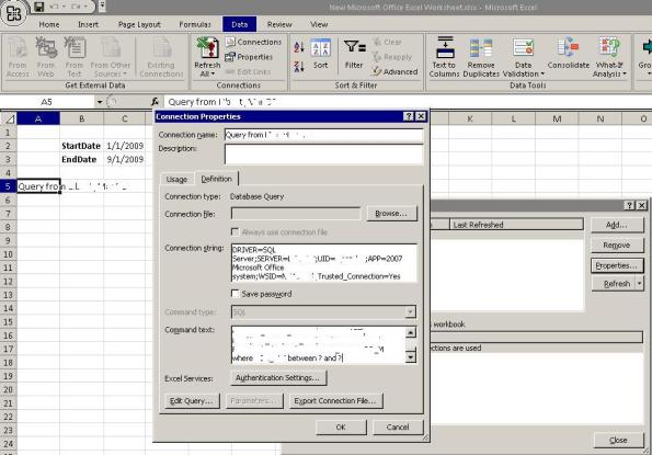 Create Parameterized Excel Refreshable Reports