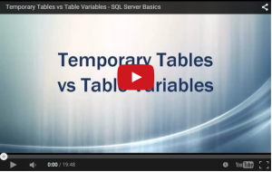 SQL Server - Temp Tables vs Table Variable - YouTube