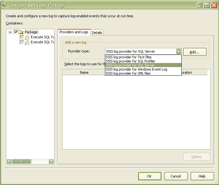 Logging in SSIS... using SQL Server Log Provider (2/6)