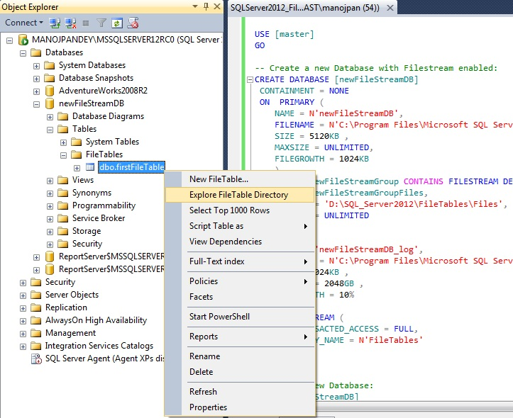 SQL Server 2012 (a.k.a Denali) - New feature | FileTables (5/6)