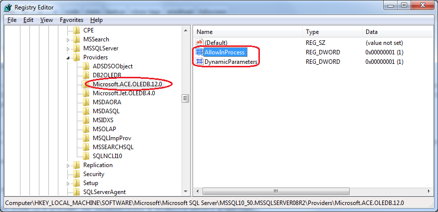 Querying Excel 2010 from SQL Server in 64-bit environment