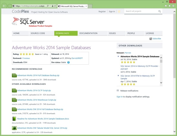 SQLServer2014_AdventureWorks2014_Sample_DBs