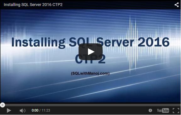 SQL Server 2016 CTP2 Install