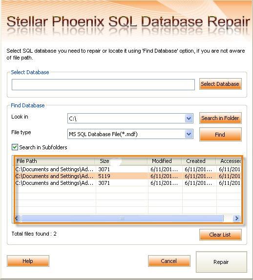 Stellar Phoenix SQL Database Repair 2