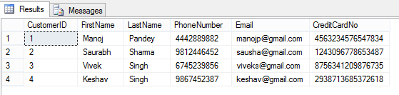 "Obfuscate column level data by using ""Dynamic Data Masking"
