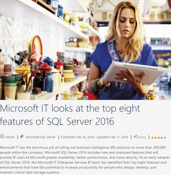 Microsoft IT Showcase - SQL Server 2016 Top-8 features