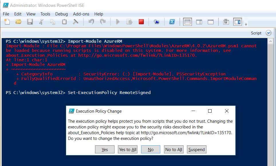 Powershell error – Import-Module : File AzureRM psm1 cannot