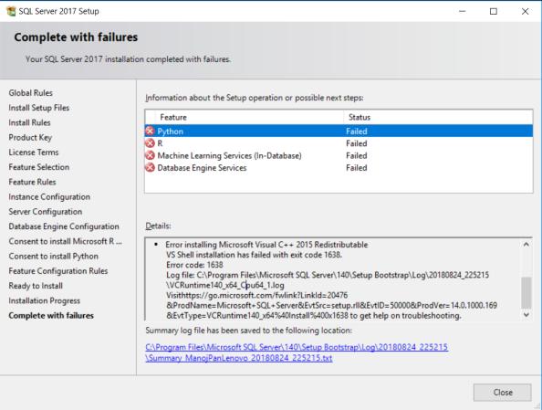 visual c++ redistributable 2005 (x86) installation failed